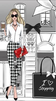 Ideas For Fashion Sketches Paris Shopping Illustration Blume, Illustration Mode, Illustrations, Fashion Illustration Chanel, Megan Hess, Trendy Fashion, Fashion Art, Girl Fashion, Feminine Fashion