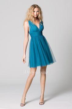teal shirred sleeveless v-neck short a-line bridesmaid dress