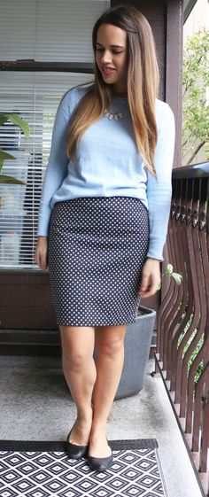 Jules in Flats - Old Navy Sweater, Polka Dot Pencil Skirt