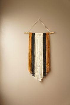 Bohemian Macrame Wall Hanging / Woven Tapestry / Modern Fringe Weaving / Rustic Textile / Boho Home Décor / Cream Gold Charcoal / Woven Art