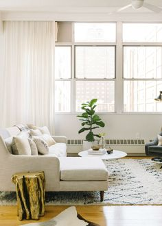 Nice living room idea with white curtains, light sofa, indoor plant and wood floor