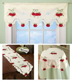 """Apple Kitchen Decorative Linens Valance By Collections Etc by Collections. $9.99. A whole harvest of apples makes a colorful counterpoint to the charming details of these pretty linens that include scalloped edges, embroidered scrollwork and lacy openwork. Valance has a rod pocket top so it goes up quickly and easily. Polyester, imported. Machine wash. Each sold separately. Valance measures 40""""W x 15""""L; runner measures 68""""L x 13""""W; square measures 33""""Sq."""