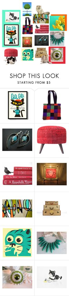 """Etsy Cool Cats"" by fivefoot1designs ❤ liked on Polyvore featuring Coffee Shop, Jazzberry Blue and vintage"