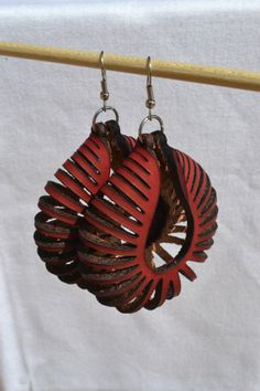 Laser Cut Earrings - Large Nautilus - RED - Sterling Silver