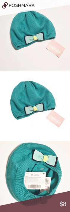 NWT [Gymboree] Teal Beanie with Bow [sz 0-3M] New With Tags! Allover knit texture. Beautiful for your little girl! Size 0-3M but could fit baby longer given the stretch in the fabric. Firm on price Gymboree Accessories Hats