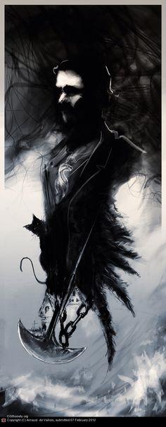Edgar Allan Poe by Arnaud de Vallois Edgar Allan Poe, Edgar Allen Poe Tattoo, Caricatures, Science Fiction, Quoth The Raven, Gothic Art, Macabre, Dark Art, Beautiful Creatures