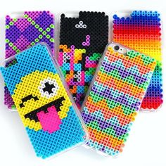 Today on HGTV Handmade, I'm showing you how to make these Phone Cases out of Perler Beads! Link in my bio! Perler Bead Designs, Easy Perler Bead Patterns, Melty Bead Patterns, Hama Beads Design, Diy Perler Beads, Perler Bead Art, Pearler Beads, Fuse Beads, Beading Patterns