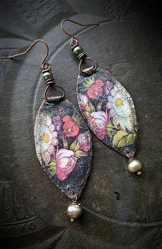 Wabi Sabi Organic Long Boho Statement Earthy Unique Rose Quartz Gemstone Artisan Clay Primitive Face Earrings Pink Tribal Mask Earrings