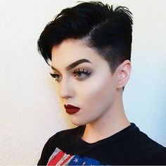 Pixie Haircuts with Bangs - 50 Terrific Tapers Shaved Hair Women, Half Shaved Hair, Pixie Haircut For Thick Hair, Short Hair Cuts, Long Bob Pixie, Pixie Cut, Shot Hair Styles, Long Hair Styles, Androgynous Hair