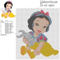 Disney Baby Princess Snow White free cross stitch pattern stitches 18 DMC threads - free cross stitch patterns by Alex Disney Cross Stitch Patterns, Cross Stitch For Kids, Cross Stitch Boards, Cross Stitch Designs, Disney Princess Babies, Baby Princess, Baby Disney, Cross Stitching, Cross Stitch Embroidery