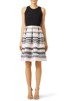 Rent Black and Blush Stroke Dress by Carmen Marc Valvo for $75 only at Rent the Runway.