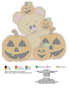 Halloween bear & pumpkins Plastic Canvas