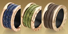 B.Zero1 4-band #Bulgari Ring Ref.AN856222 in 18 kt Pink Gold and Marble Blue €900,00.   B.Zero1 4-band Bulgari Ring Ref.AN856221 in 18 kt Pink Gold and Green Marble €900,00.  B.Zero1 4-band Bulgari Ring Ref.AN856226 in 18 kt Pink Gold and  Brown Murble.Anelli #Bulgari B Zero1 4 bande in Oro Rosa e Marmo Blu Ref.AN856222, in oro Rosa e Marmo Verde Ref.AN856221 ed in Oro Rosa e Marmo Marrone.€900,00 l'uno