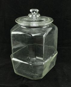 """Lance 12.5"""" Clear Glass vintage Cracker Cookie Jar Store Canister Container #Lance"""