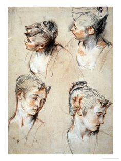Antoine Watteau; Studies of Woman's Head Discover the coolest shows in New York at www.artexperience...