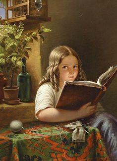 """Girl Reading"", 1855, by Eduard Klieber re-pinned by: http://sunnydaypublishing.com/books/"