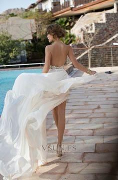 Vestido+de+novia+Informal+Corte-A+Playa+Espalda+Descubierta+Hasta+el+suelo