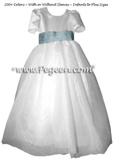 Caribbean blue flower girl dress with organza skirt