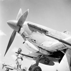 A pilot of No. 6 Squadron RAF stands by his Hawker Hurricane Mark IID at Shandur, Egypt. This view shows the Vickers anti-tank cannon fitted to the Mark IID, which the Squadron employed to good effect in the fighting in North Africa. Air Force Aircraft, Navy Aircraft, Ww2 Aircraft, Fighter Aircraft, Military Aircraft, Fighter Jets, Hawker Hurricane, Ww2 Planes, Vintage Airplanes