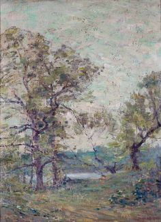 """Old Lyme Landscape Behind Edward Rook's House,"" Frank Bicknell, oil on composition board, Florence Griswold Museum."