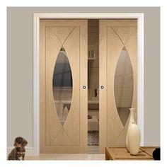 Double Pocket Pesaro Oak Door with Clear Safe Glass Oak Doors With Glass, Solid Oak Doors, Oak Front Door, Glass Door, Double Pocket Door, Pocket Door Frame, Pocket Doors, Safe Glass, Clear Glass