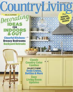 love the yellow cabinets with blue backsplash or blue painted walls