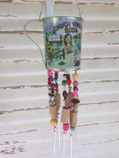 Chuckwagon soda jug upcycled windchime, yard art, garden decor, outdoor decoration, garden art