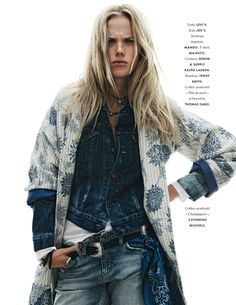 This has been tagged with indigo Anne Vyalitsyna blanc bleu elle elle france denim street style streetstyle All Jeans, Jeans Denim, Denim Fashion, Look Fashion, Womens Fashion, Net Fashion, Fashion Beauty, Fashion Outfits, Your Style