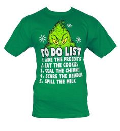 """The Grinch that Stole Christmas Mens T-Shirt - """"To do List?"""" Grinch Eyes Image (Large) Green IMPB"""