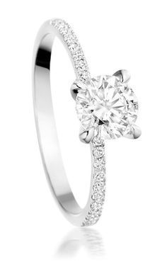 Round cut solitaire stone; 4 prong; petite french pave half eternity band
