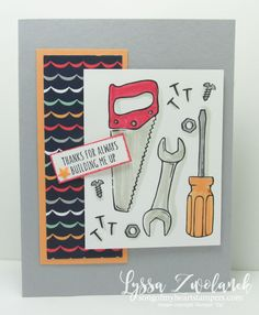 Nailed it Stampin Up songofmyheartstampers handyman tools toolbox hammer masculine guy card