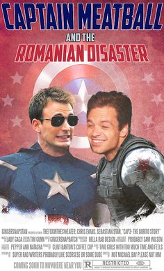 "CAPTAIN MEATBALL and the ROMANIAN DISASTER - aka Chris Evans and Sebastian Stan, my precious bbys. << Should be Captain Dorito but I love it either way << Read the fine print  It should be ""Clint Barton's coffee pot"" bc he drinks it straight."