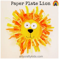 Super cute paper plate lion for preschoolers and  young children to make! explore different textures and materials to create a wacky lion's mane!