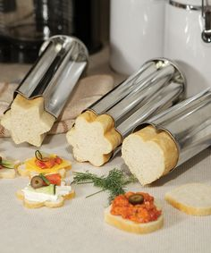 Bread Canape Mold Set - includes 3: star, heart, and flower. Perfect for entertaining!