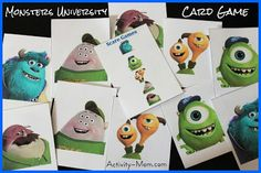 The Activity Mom: Monsters University Card Game (printable)