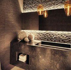 Luxury zen guest bathroom.