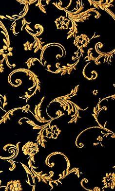 Ornate Gold Filigree Brocade on Black Silk Blend