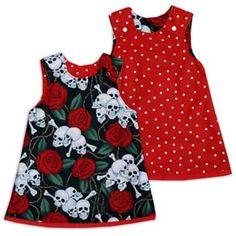 Punk Rock Baby Reversible Dress: Skulls N Roses