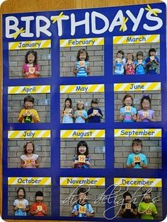 Classroom Birthday Picture Chart. Such a cute way to display classroom birthdays!