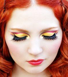 Picture of Doe Deere Love Makeup, Makeup Looks, Fun Makeup, Makeup Tips, Makeup Ideas, Makeup Eyeshadow, Hair Makeup, Yellow Makeup, Bright Makeup