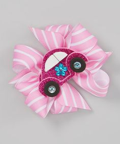 Another great find on #zulily! Pink & White Car Bow Clip by Picture Perfect Hair Bows #zulilyfinds