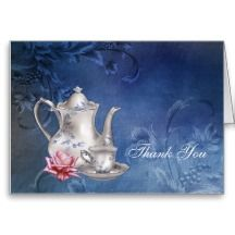 Blue Bridal Tea Thank You Cards