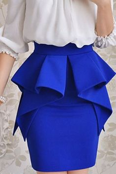 Multi ruffle layer peplum skirt sapphire/tardis blue great for work Look Fashion, Womens Fashion, Fashion Design, Fashion Trends, Fashion News, African Dress, Mode Style, African Fashion, Passion For Fashion