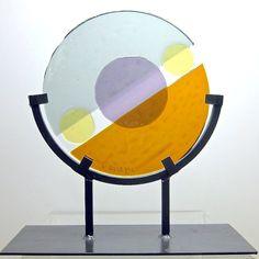 Abstract Art Glass Mid Century Modern Circular  Sculpture