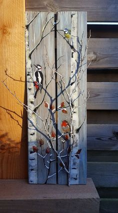Outdoor decor for Christmas and the winter months -You can find Pallet art and more on our website.Outdoor decor for Christmas and the winter months - Arte Pallet, Wood Pallet Art, Pallet Painting, Tole Painting, Painting On Wood, Art On Wood, Wood Paintings, Pallet Sofa, Christmas Paintings