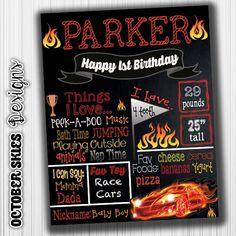 RCar Custom Birthday Chalkboard by OctoberSkiesDesigns on Etsy
