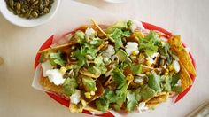 Nachos with feta and pepita and chipotle sauce