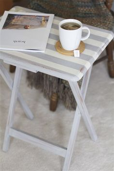 A striped tv tray transformed with Paris Grey and Old White Chalk Paint® decorative paint by Annie Sloan | By Offbeat + Inspired