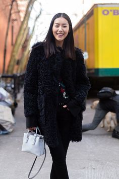 black fuzz. #LiuWen #offduty in NYC. - Discover Sojasun Italian Facebook, Pinterest and Instagram Pages!