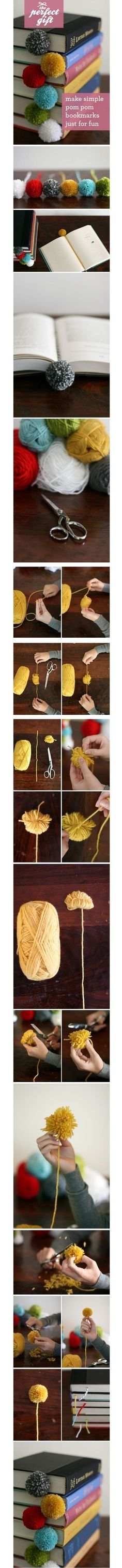 How to make simple pom pom bookmarks just for fun step by step DIY tutorial picture instructions by Mary Smith fSesz Diy Crafts For Teen Girls, Crafts For Kids, Cute Crafts, Crafts To Do, Market Day Ideas, Book Markers, Ideias Diy, Yarn Ball, Diy Art